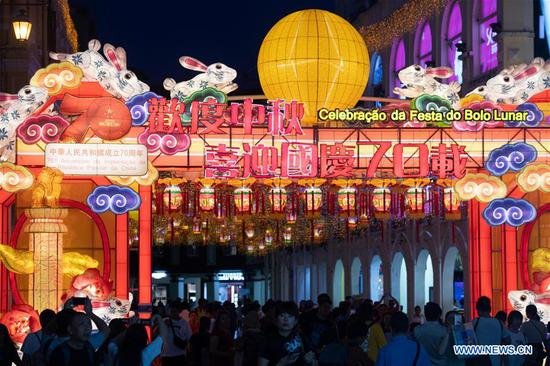 Decorative lanterns set to celebrate upcoming Mid-Autumn Festival in Macao