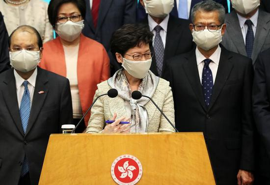 The Hong Kong Special Administrative Region (HKSAR) Chief Executive Carrie Lam says that national security legislation for the HKSAR protects interests of residents and foreign investors at a press conference in Hong Kong, South China, May 22, 2020. (Xinhua/Li Gang)